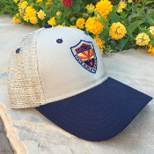 Hat – Desert Tan, mesh-back with blue bill